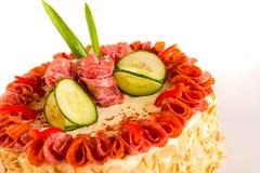 Dessert salato mandorle saporite del pane del grafico a torta del salame Immagine Stock