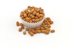 Dessert : salted peanuts in paper cup isolated on white backgrou Royalty Free Stock Photography