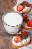 Dessert sandwiches with cream cheese, strawberries and milk Royalty Free Stock Photos