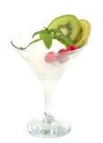 Dessert saporito del gelato con frutta Fotografia Stock Libera da Diritti