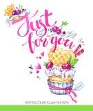 Dessert savoureux d'aquarelle Carte de félicitation avec des mots agréables Illustration tirée par la main originale Nourriture d illustration stock