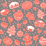 Dessert seamless  pattern with Christmas elements. Line art. Stock Photography