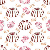 Dessert seamless pattern. Sweet background in hand drawn style.  Stock Photos