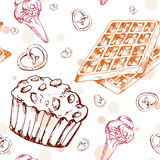Dessert seamless pattern. Sweet background in hand drawn style. Wallpaper with cupcake, waffles, pretzel. Vector illustration for Stock Photo