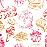 Dessert seamless pattern. Sweet background in hand drawn style. Wallpaper with cupcake, waffles, pretzel. Vector illustration Stock Photo
