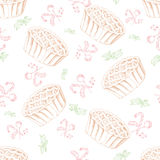 Dessert seamless pattern. Sweet background in hand drawn style. Wallpaper with pie, candy. Vector illustration for cafe menu, bann Royalty Free Stock Photos