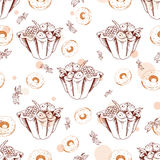 Dessert seamless pattern. Sweet background in hand drawn style. Wallpaper with tart, donut. Vector illustration for cafe menu, ban Stock Photo