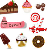 Dessert set. Vector set with different types of sweets Royalty Free Stock Image