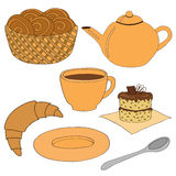 Dessert . A set of dishes and cakes. Isolated objects on white background. Vector illustration vector illustration
