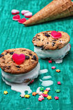 Dessert shortcake with ice cream Royalty Free Stock Photos