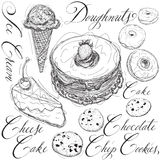Dessert sketches with calligraphy Stock Image