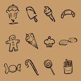 Dessert and snack icons Stock Image