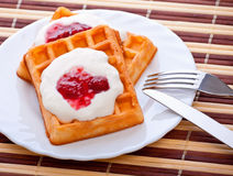 Dessert with soft waffle Royalty Free Stock Photo