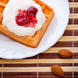 Dessert with soft waffle Royalty Free Stock Photography
