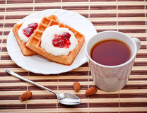 Dessert with soft waffle Royalty Free Stock Photos