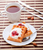 Dessert with soft waffle Stock Photos
