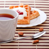 Dessert with soft waffle Stock Images