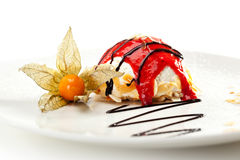 Dessert. Souffle with Berries Sauce and Almonds Royalty Free Stock Photo