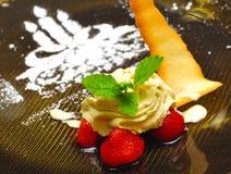 Dessert spécial d'anniversaire Photographie stock