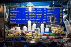 Dessert stall at a night market near Khao San Road, Bangkok. BANGKOK, THAILAND - JUNE 13, 2015 - Dessert stall at a night market near Khaosan Road, Bangkok stock photo
