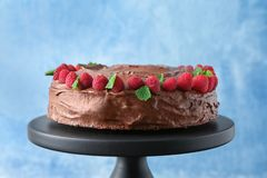 Dessert stand with delicious chocolate cak Stock Photography