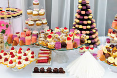 Dessert stand with a lot of delicious sweets Stock Images