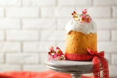 Dessert stand with sweet Easter cake Stock Photography