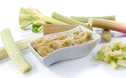 Dessert of stewed rhubarb Stock Image