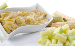 Dessert of stewed rhubarb Stock Photo