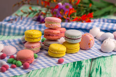 Dessert still life with macaroon cookies and marshmallow Royalty Free Stock Images