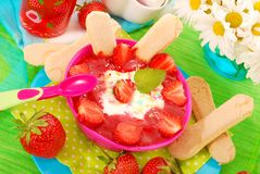 Dessert with strawberries for baby Royalty Free Stock Image