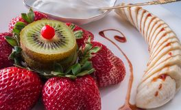 The dessert of strawberries Royalty Free Stock Images