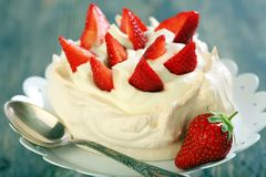 Dessert with strawberries closeup. Royalty Free Stock Image