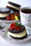 Dessert with strawberries and coffee Royalty Free Stock Image