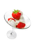 Dessert of strawberries and cream Royalty Free Stock Photo