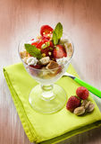 Dessert with strawberries Stock Images