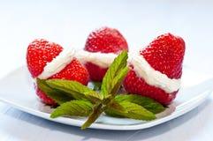 Dessert of strawberries. Refreshing dessert of strawberries with cream Stock Photo