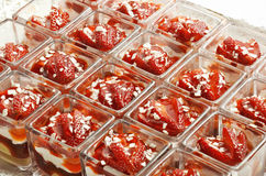 Dessert Strawberries into Small Square Glasses Royalty Free Stock Photo