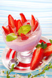Dessert with strawberry and blueberry yogurt Royalty Free Stock Photo