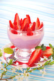 Dessert with strawberry and blueberry yogurt Stock Image
