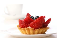 Dessert strawberry cake with coffee Stock Photography
