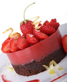 Dessert, strawberry and chocolate cake Stock Image