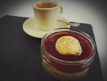 Dessert strawberry cream eat sweet coffee chocolate. Cafe caffeine creamycup teaspoon espresso hotdrink Royalty Free Stock Photo