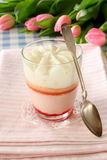 Dessert strawberry cream in glass with spoon Royalty Free Stock Photography