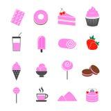 Dessert strawberry flavor icons set  Stock Photos