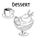 Dessert strawberry ice cream cup coffee food graphic art black white sketch illustration Royalty Free Stock Photos