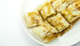 Dessert style of fried roti with banana inside. In Thailand Stock Images