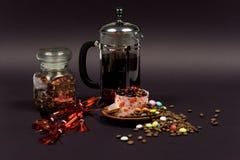 Dessert su una priorità bassa nera 5 Fotografia Stock Libera da Diritti