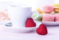 Dessert sul biglietto di S. Valentino fotografie stock libere da diritti