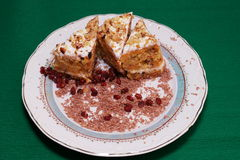 Dessert sulla zolla Immagine Stock Libera da Diritti